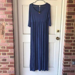 Blue 3/4 sleeve maxi dress